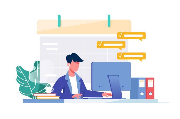 stockillustraties, clipart, cartoons en iconen met jonge man met computer vult schema kalender en volledige zakelijke taak voor werk. - alleen één jonge man