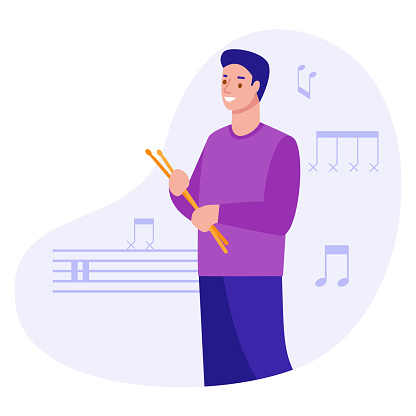 Young man with drumsticks on the background of notes. Vector illustration in flat style.