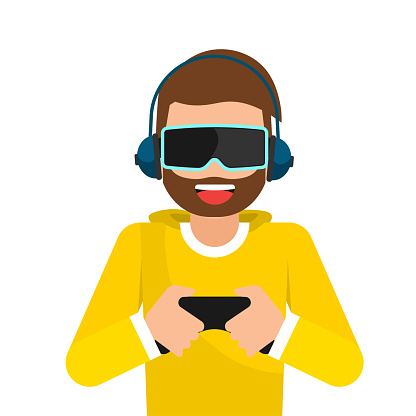Young man with headphones playing virtual 3d reality simulation game. Digital entertainment vector concept. Novelty gaming device, virtual reality next generation game illustration.