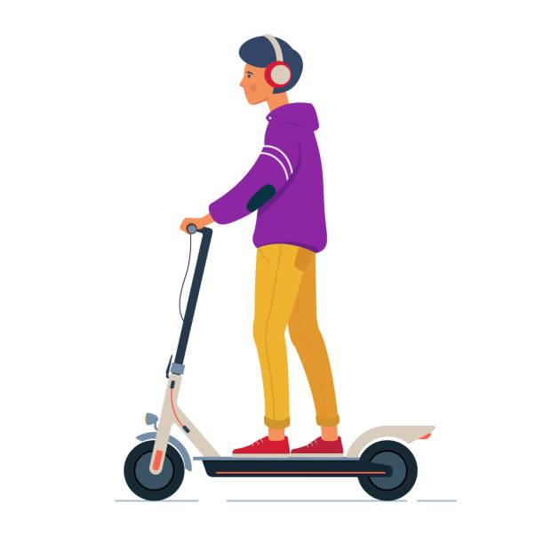stockillustraties, clipart, cartoons en iconen met jonge man met koptelefoon rijdt elektrische scooter - step