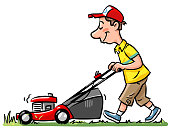 Young Man With Lawn Mower