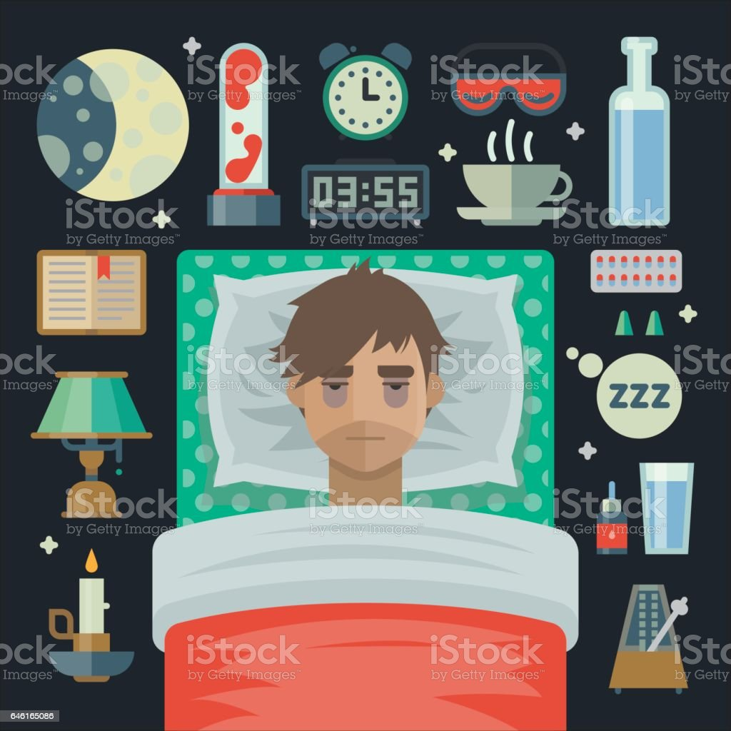 Young man with sleep problem insomnia and items. vector art illustration
