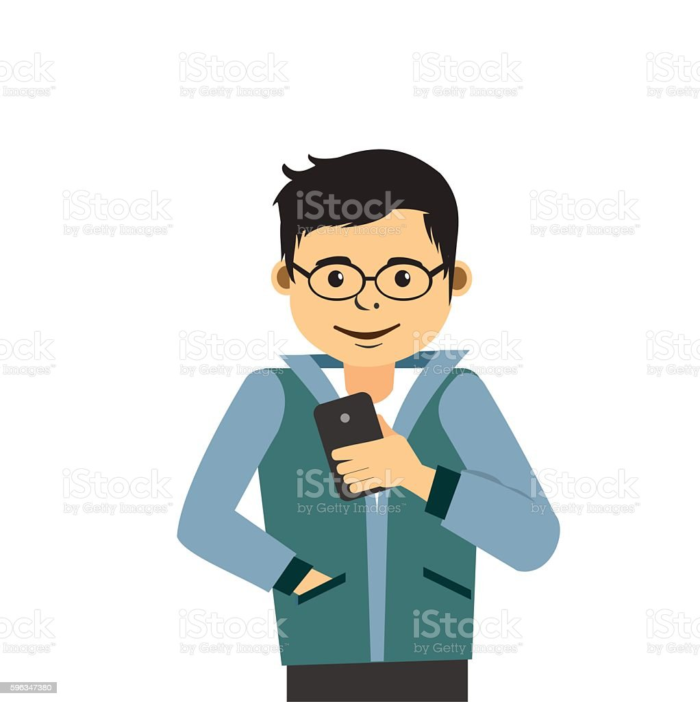 Young Man With Smartphone royalty-free young man with smartphone stock vector art & more images of addiction