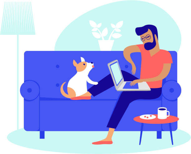 Young man  working at home as freelancer vector art illustration
