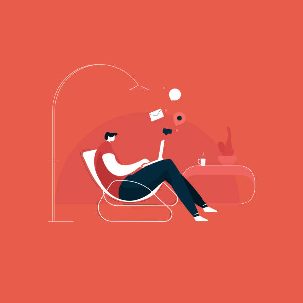 young man working from home illustration, young man sitting on a chair and using laptop. freelance, self employed, freedom, in living room, work from home concept vector - working from home stock illustrations