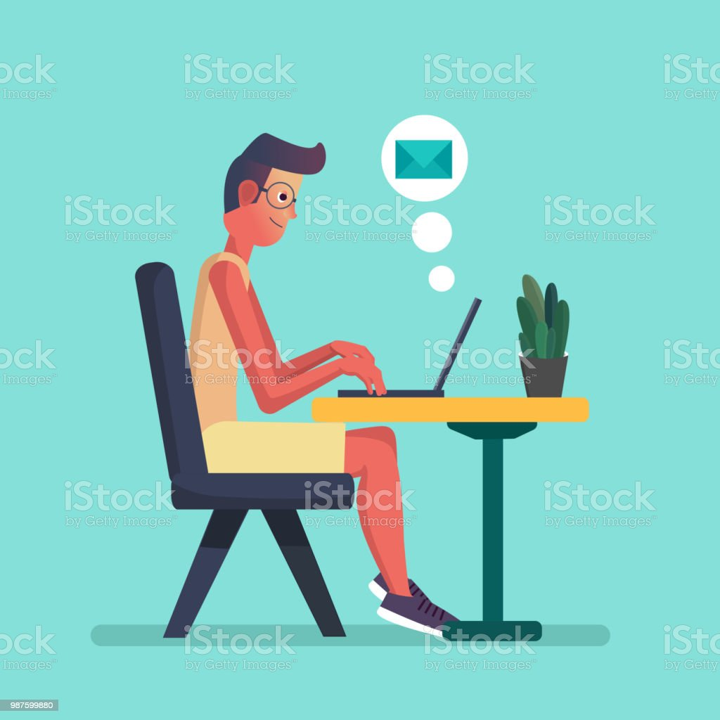 Young Man Working On Laptop Flat Cartoon Person Character