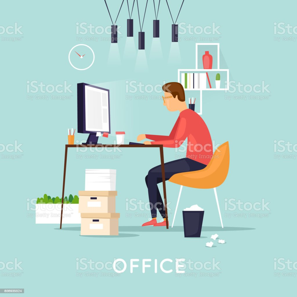 Joven trabajo en el programador de computadoras, análisis de negocios, diseño, estrategia. Ilustración de vector plano en estilo de dibujos animados. - ilustración de arte vectorial
