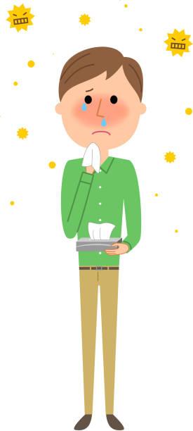 若い男が、花粉症 - くしゃみ 日本人点のイラスト素材/クリップアート素材/マンガ素材/アイコン素材
