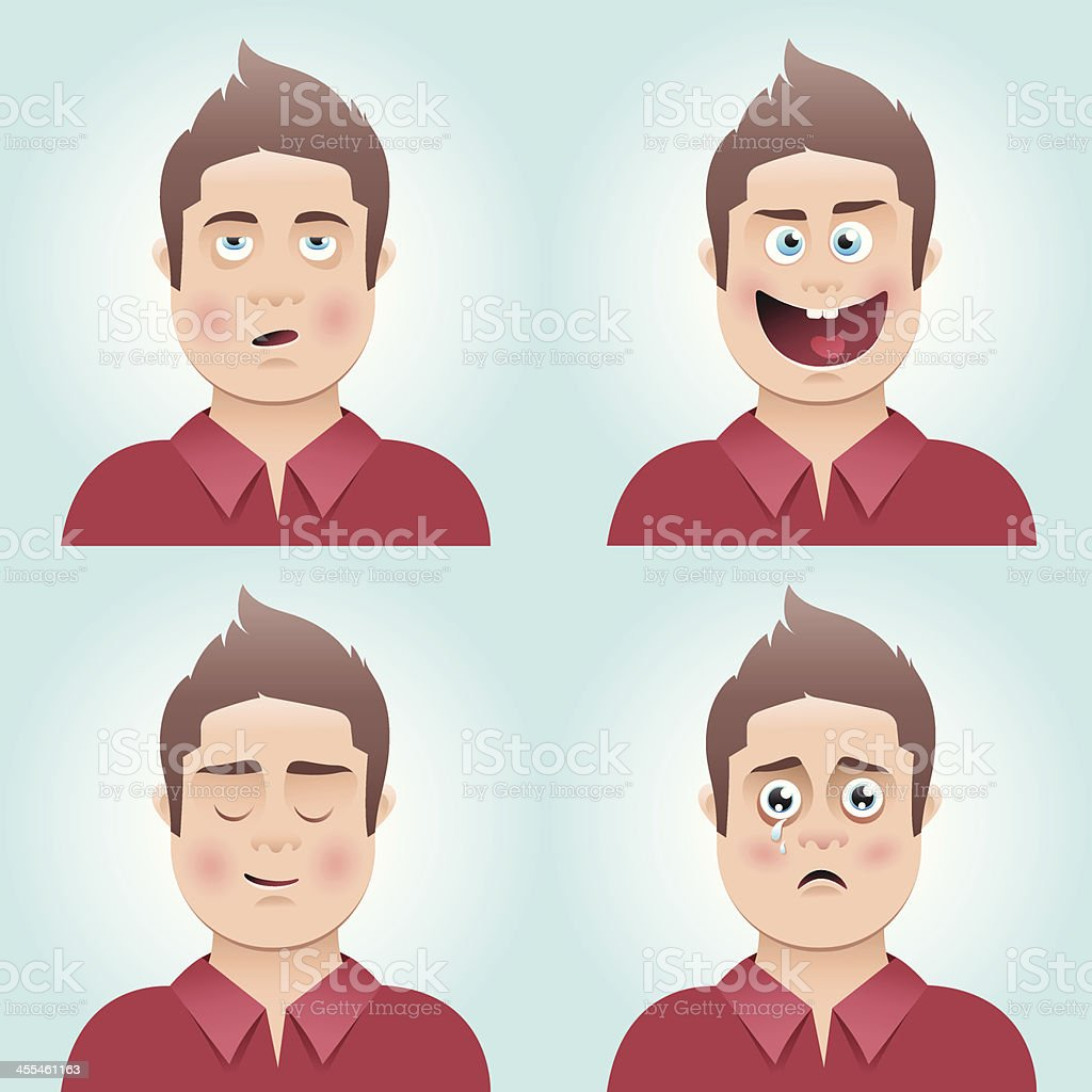 Young man's facial expressions royalty-free young mans facial expressions stock vector art & more images of 18-19 years