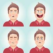 Young man's facial expressions
