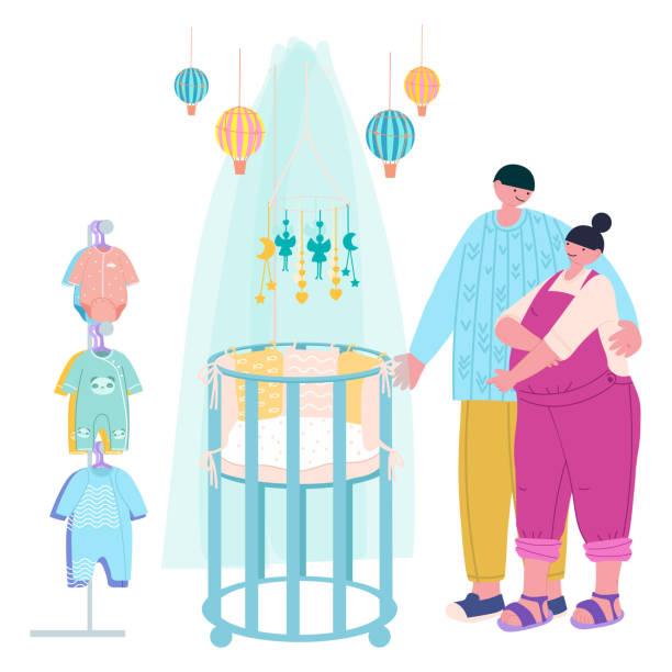 bildbanksillustrationer, clip art samt tecknat material och ikoner med ett ungt gift par - en man och en gravid kvinna på avdelningen för blivande föräldrar väljer en spjälsäng och kläder. fashionabla platt vektor illustration - cosy pillows mother child