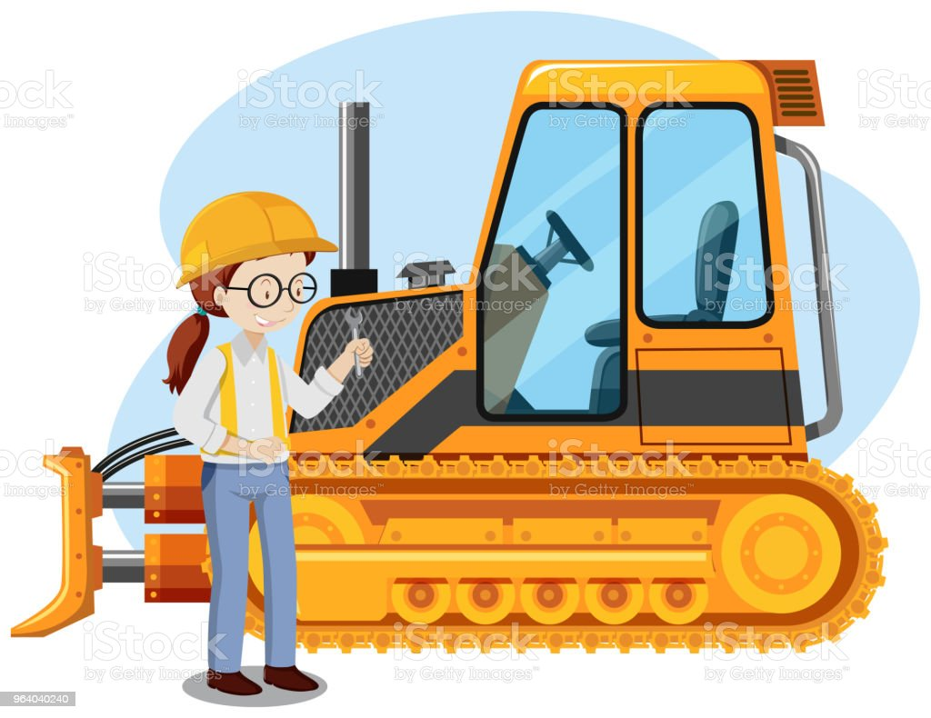 A Young Mechanic Engineer on White Background - Royalty-free Architect stock vector