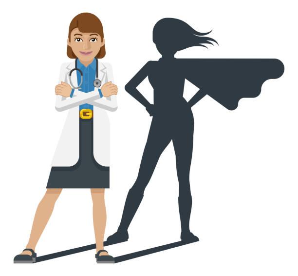 illustrazioni stock, clip art, cartoni animati e icone di tendenza di young medical doctor super hero cartoon mascot - dottoressa