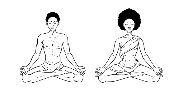 Young meditating man and woman in lotus pose isolated on white background. Black African American yogis. Vector illustration