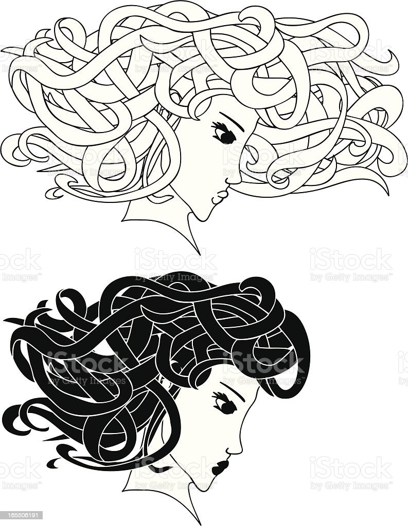 young Medusa girls head profile black and white illustration royalty-free young medusa girls head profile black and white illustration stock vector art & more images of adult