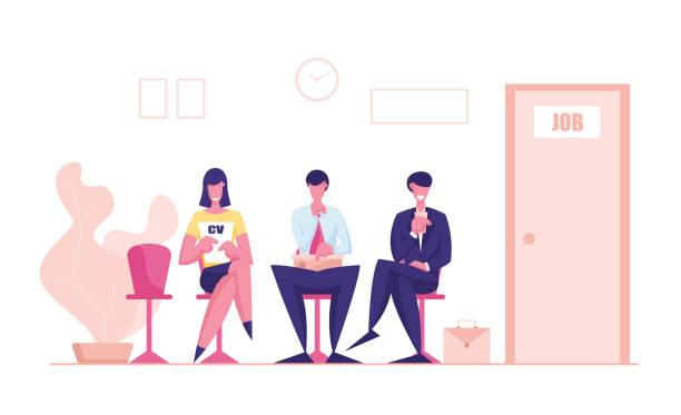 Young Men and Woman Candidates Characters with Cv Sitting on Chairs in Waiting Room Setting Mind Up Before Job Interview or Meeting with Potential Business Partners. Cartoon People Vector Illustration Young Men and Woman Candidates Characters with Cv Sitting on Chairs in Waiting Room Setting Mind Up Before Job Interview or Meeting with Potential Business Partners. Cartoon People Vector Illustration human head stock illustrations