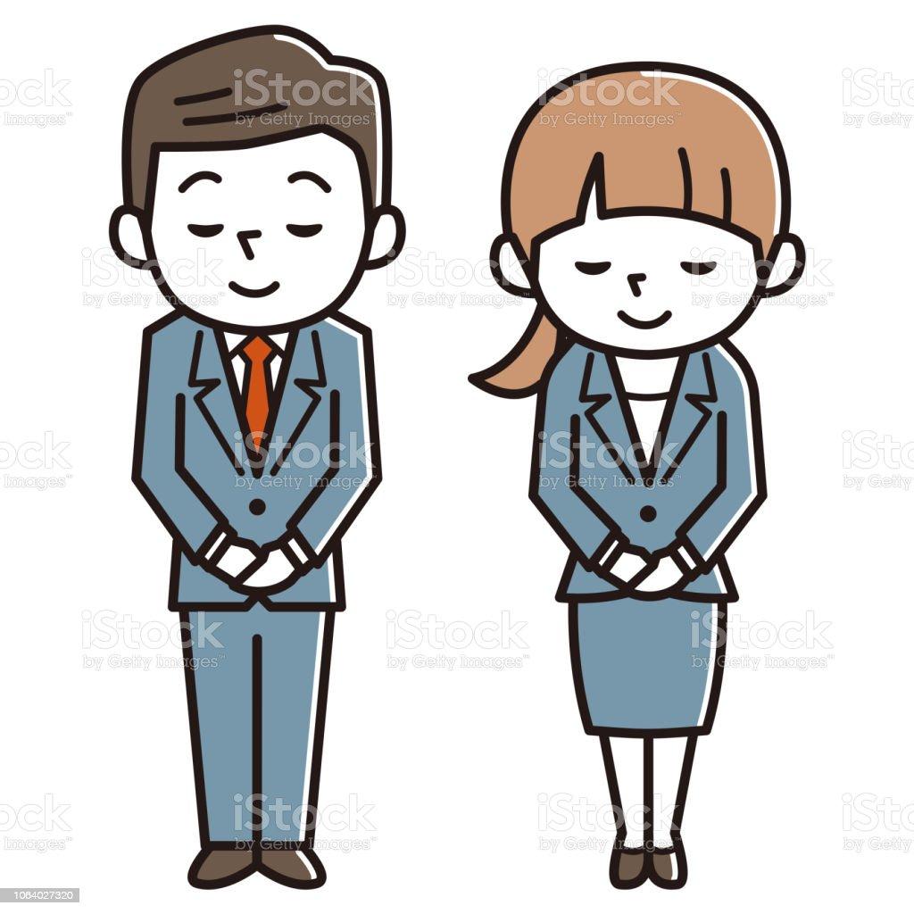若い男性と女性のおじぎ、ビジネスのイメージ ベクターアートイラスト