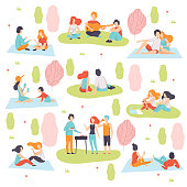 Young Men and Women Having Picnic and Cooking Meat on Barbecue Grill Set, People Relaxing on Nature Vector Illustration on White Background.
