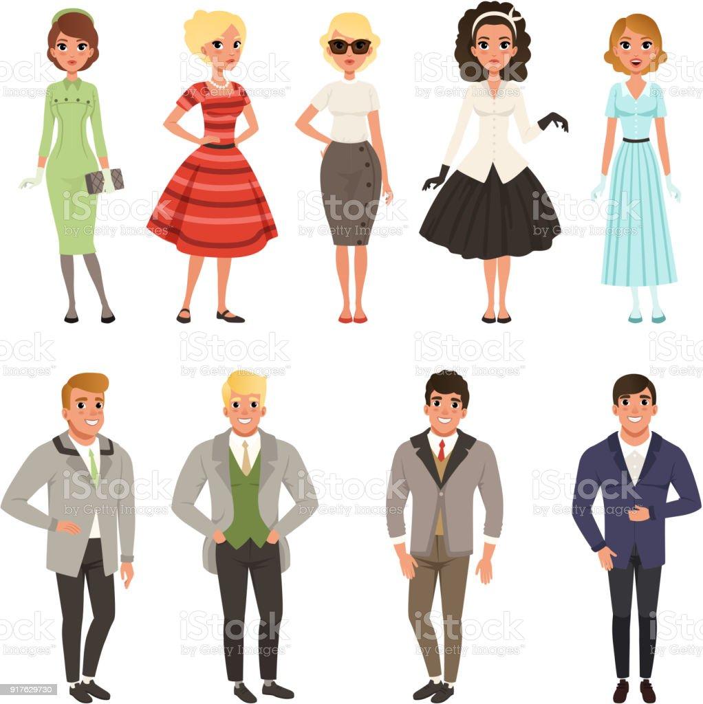 Junge Manner Und Frauen Set Vintagekleidung Tragt Retromodemenschen