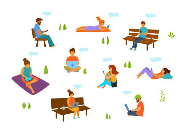 bildbanksillustrationer, clip art samt tecknat material och ikoner med unga män och kvinnor med mobiltelefoner laptops tabletter arbetar chattar textilen i stadsparken isolerade vektor illustration set - sitta