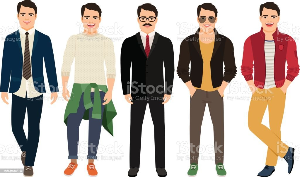 Young men in different male clothes vector art illustration