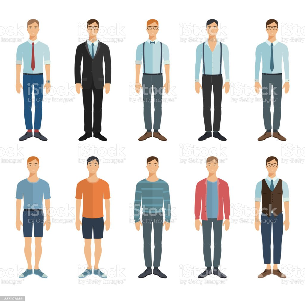 Young men in flat style. Vector characters collection. vector art illustration