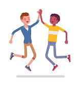 Young men jumping giving high five. Hit the hand gesture. Friendship and communication concept. Vector flat style cartoon illustration, isolated, white background