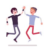 Young men jumping giving high five. Feel accepted, peaceful, and energized. Youth community and volunteer team concept. Vector flat style cartoon illustration, isolated, white background