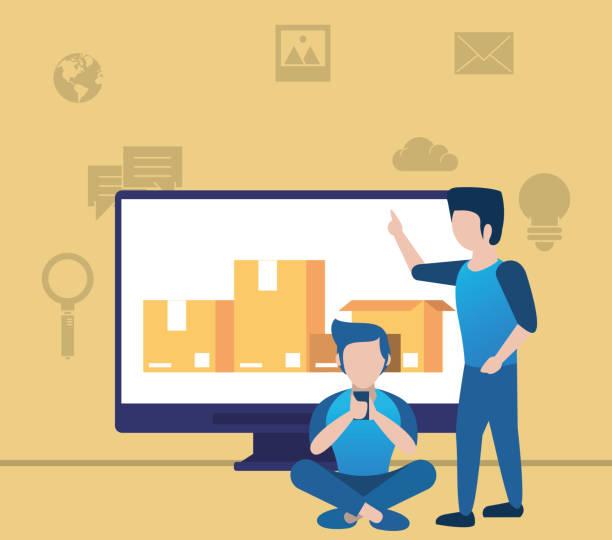 ilustraciones, imágenes clip art, dibujos animados e iconos de stock de jóvenes que utilizan teléfonos inteligentes y de escritorio con iconos de redes sociales - zoom call