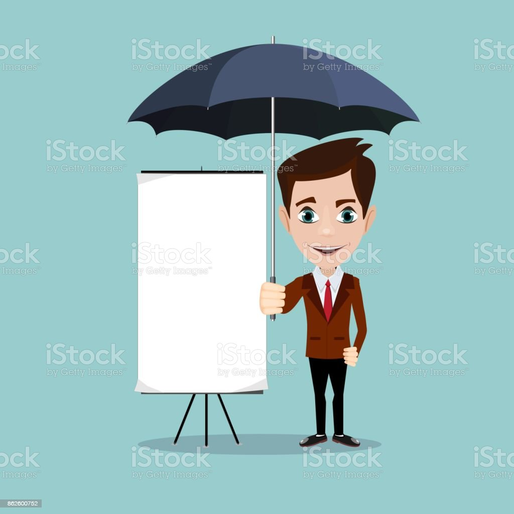 Young men with a poster and umbrella vector art illustration