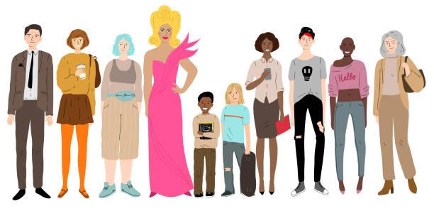 Junge Männer, Frauen und Kinder stehen zusammen. Soziale Vielfalt. – Vektorgrafik
