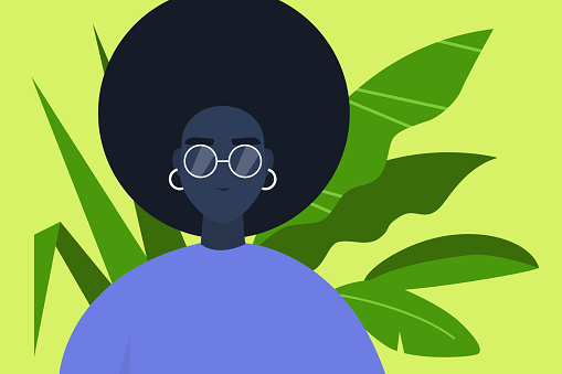 Young millennial character portrait. Plant leaves on a background. Black girl wearing glasses. Flat editable vector illustration, clip art clipart