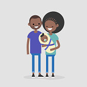 Young modern black family concept. Mother, father and their baby / flat editable vector illustration, clip art