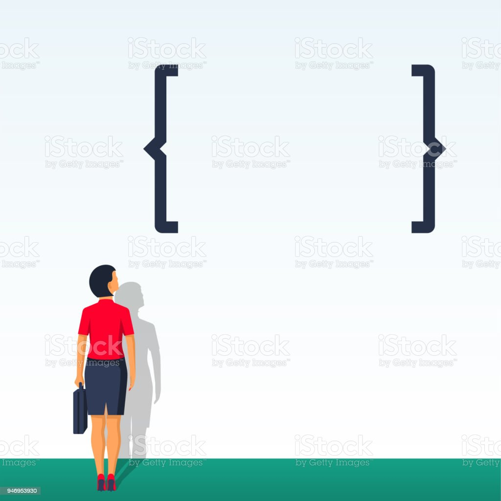Young modern woman looks at the brackets. vector art illustration