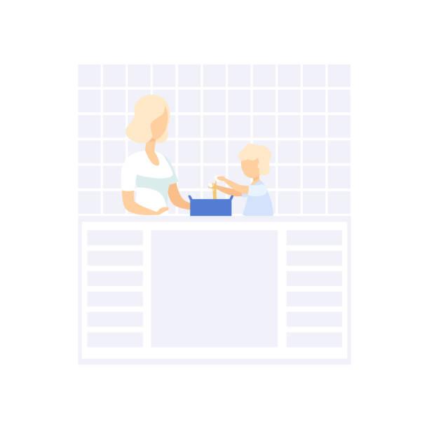 Jeune maman de cuisson dans la cuisine, son petit fils aidée, vecteur de concept de mode de vie familial Illustration sur fond blanc - Illustration vectorielle