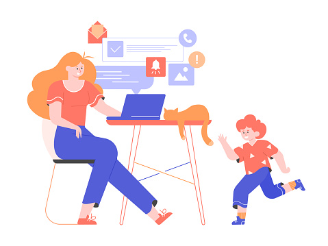 Young mom freelancer works remotely at home from laptop. The little son is playing nearby, the cat is sleeping on the desk. Vector flat illustration.