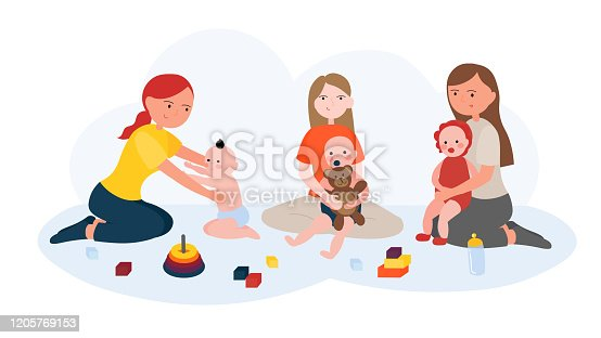 istock Young Moms Play with Their Kids 1205769153