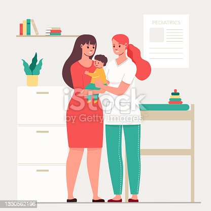 istock Young mother and baby came to the children's doctor. At a pediatrician's appointment. Vector illustration of pediatrics. 1330562196