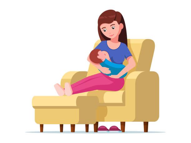 ilustrações de stock, clip art, desenhos animados e ícones de young mother breastfeeding sitting on a chair - amamentação