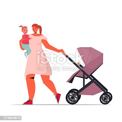 istock young mother holding newborn baby and pushing stroller motherhood concept 1279949675