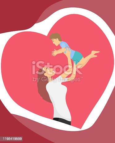 A young mother holds a baby in her arms. Mom throws baby up in her arms on a background of red hearts. Vector illustration. Vector.