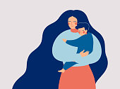 Young mother holds her son with care and love. Happy Mothers Day concept with mom and small boy. Vector illustration