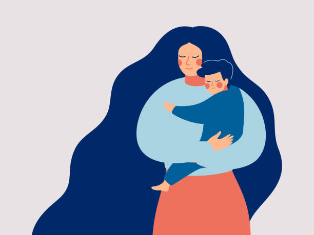 young mother holds her son with care and love. - single mother stock illustrations