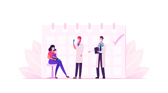 Young Mother in Mask Bring Little Baby to Hospital for Vaccination and Immunization Procedure. Doctor Characters Shooting Vaccine Covid19 for Immunity Health Care. Cartoon People Vector Illustration