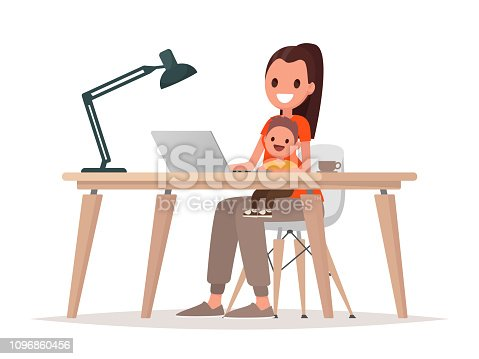 Young mother sits with a baby and works at a laptop. Mother freelancer, remote work at home and raising a child. Vector illustration in flat style