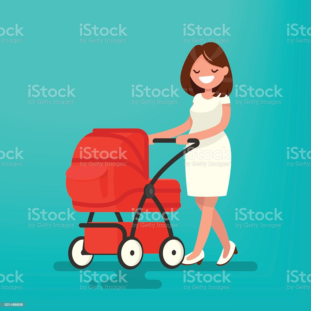 Young mother walking with a newborn that is in  pram. vector art illustration