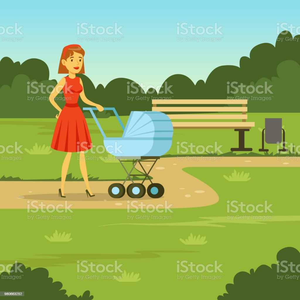 Young mother walking with baby carriage in the park, flat vector illustration