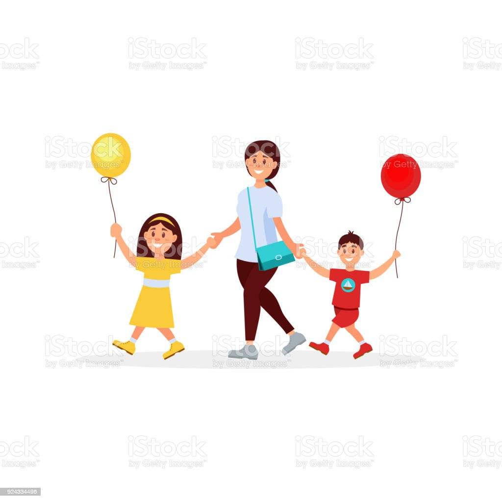 Young mother walking with her little children. Mom, son and daughter. Boy and girl holding balloons in hands. Family day. Happy childhood. Colorful flat vector design