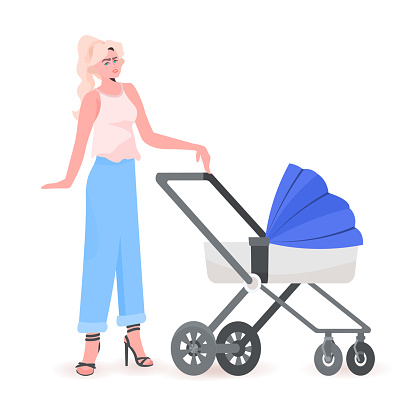young mother walking with newborn baby in stroller motherhood concept