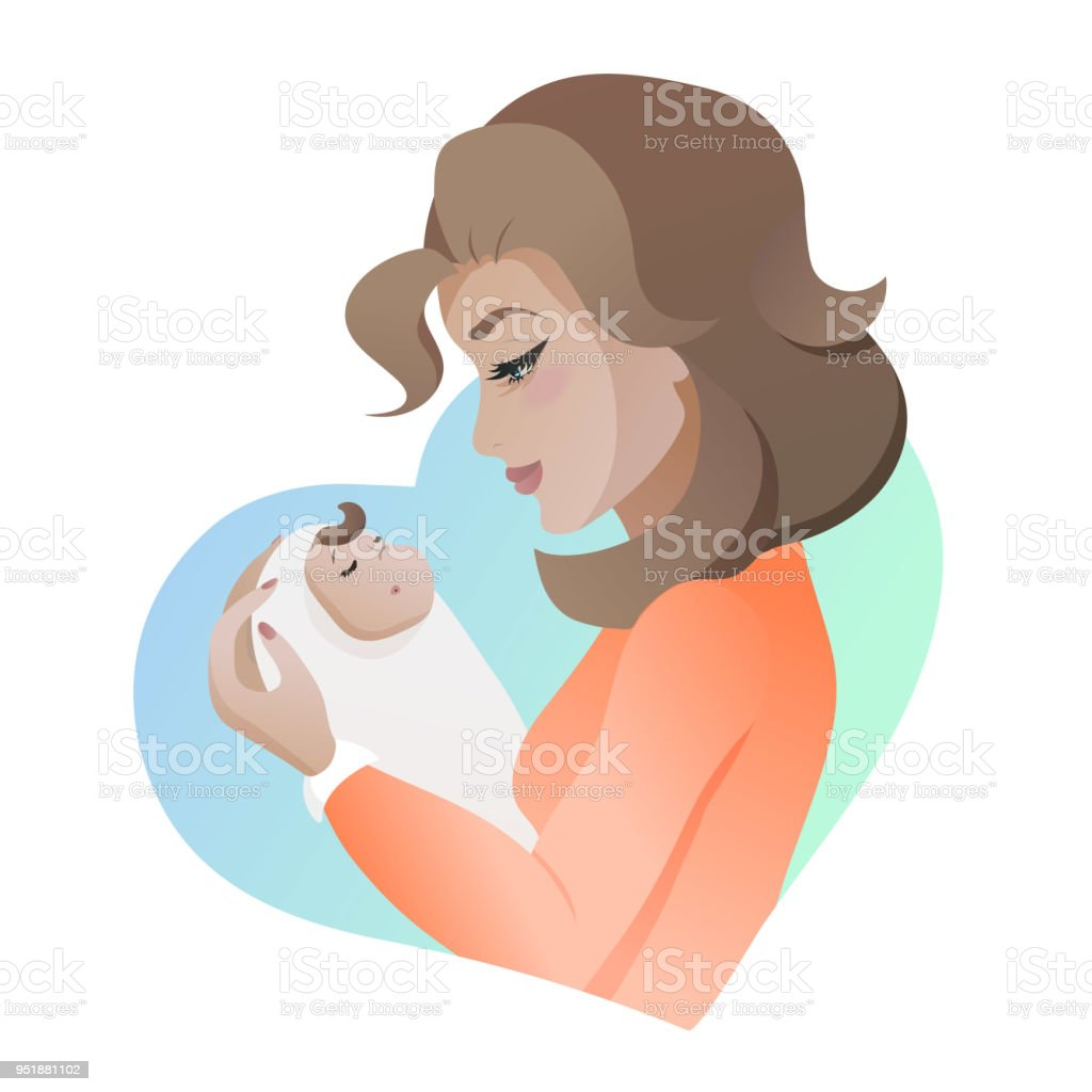 Young mother with baby in her hands